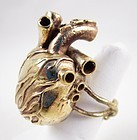 Unusual Oversized Brass Heart With Valves Statement Ring