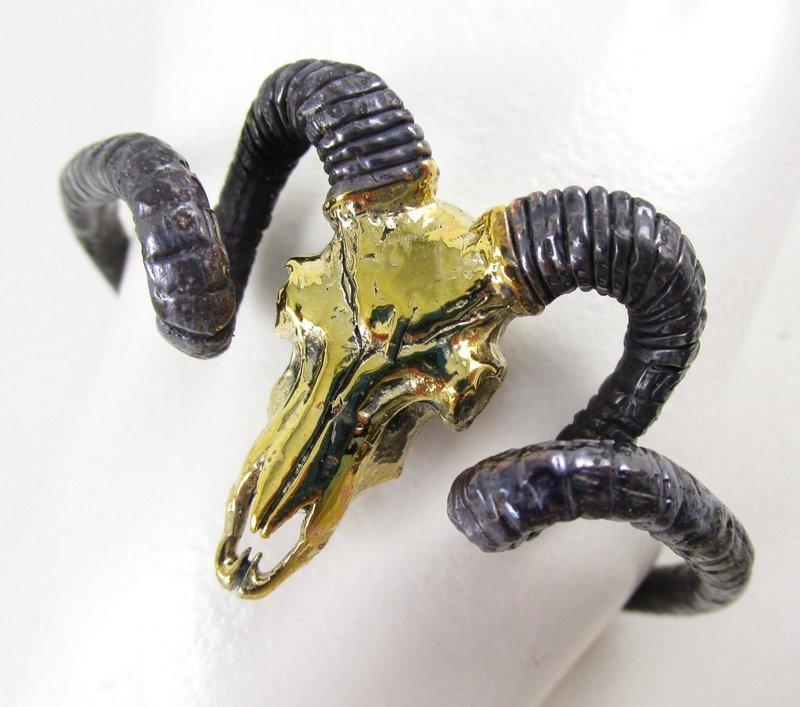 Unusual Gothic Chic Brass Ram Skull Horn Bracelet
