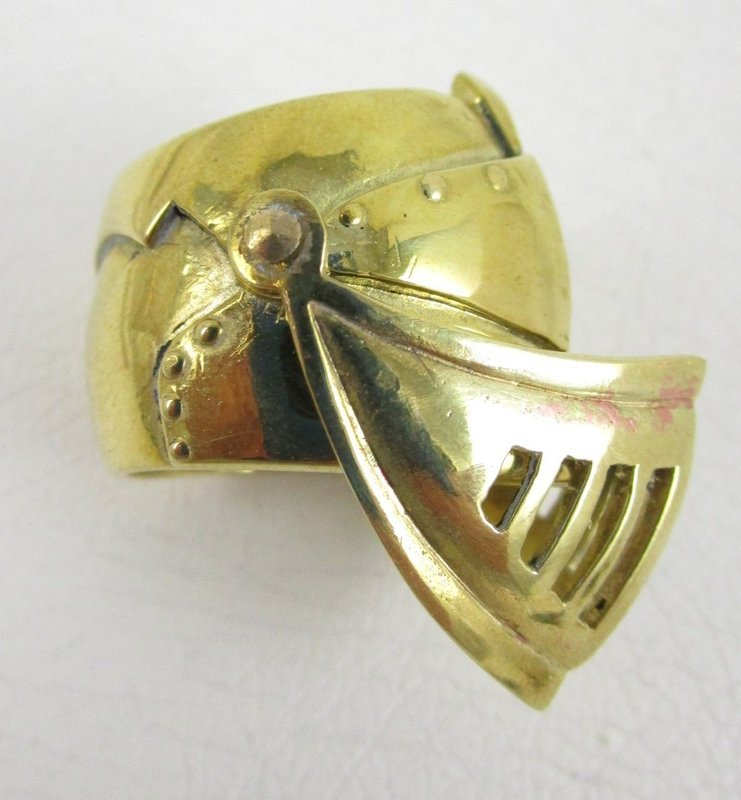Unusual Polished Brass Articulated Armored Knight Hood Ring