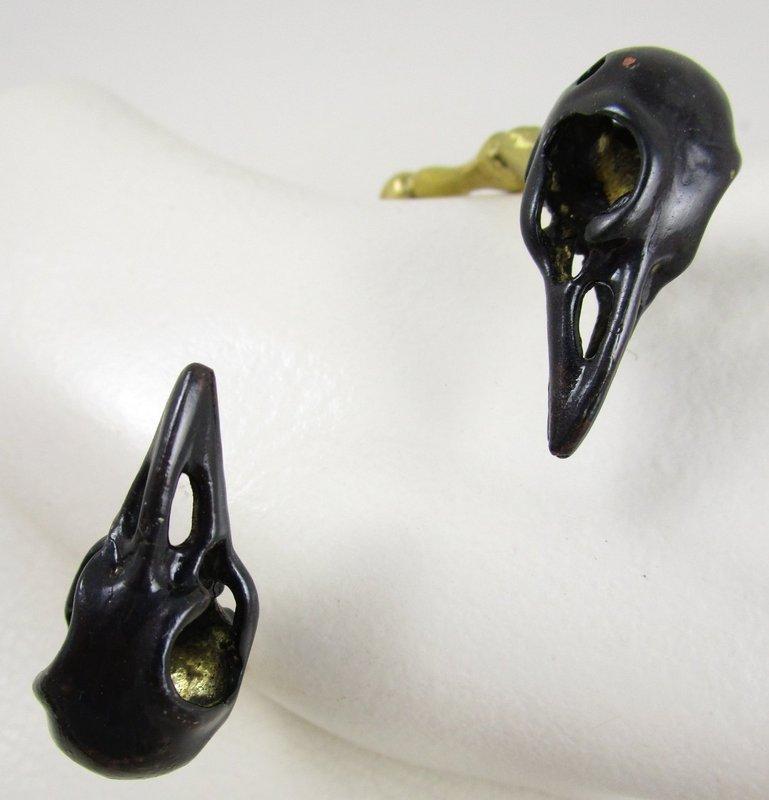 Unusual Gothic Chic Brass Raven Skull Bone Bracelet