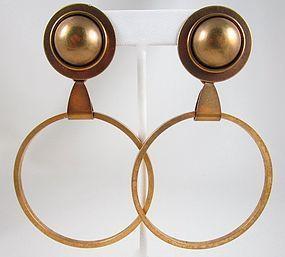 Fantastic Oversized Jan Michaels Antiqued Brass Hoop Earrings