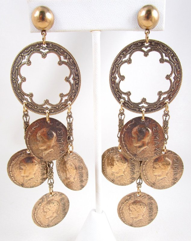 Unusual Jan Michaels Antiqued Brass Gypsy Coin Earrings
