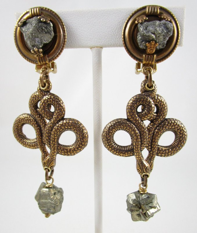 Dramatic Jan Michaels Brass & Hematite Serpent Snake Earrings