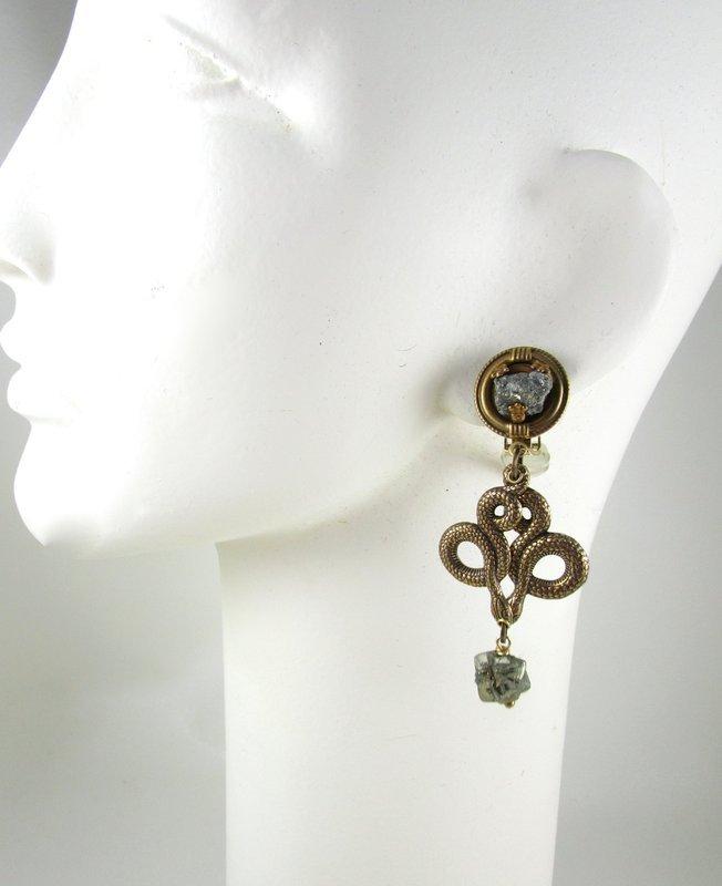 Dramatic Jan Michaels Brass & Hematite Serpent Snake Earrings