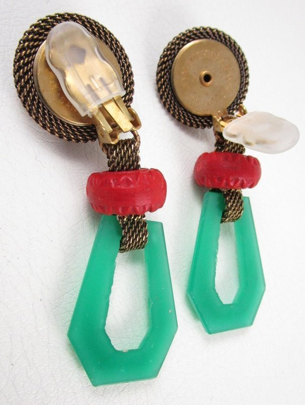 Jan Michaels Antiqued Brass & Glass Art Deco Chinoiserie Earrings