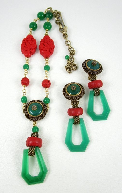 Jan Michaels Antiqued Brass & Glass Art Deco Chinoiserie Necklace