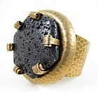 Unusual Jan Michaels Antiqued Hammered Brass Lava Stone Cuff Bracelet