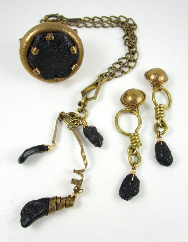 Unusual Jan Michaels Antiqued Brass & Lava Stone Tassel Necklace