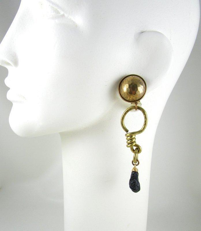 Dramatic Jan Michaels Brass & Lava Stone Earrings