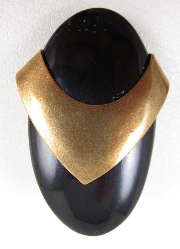 Bold Jan Michaels Art Deco Brass and Horn Clip Earrings