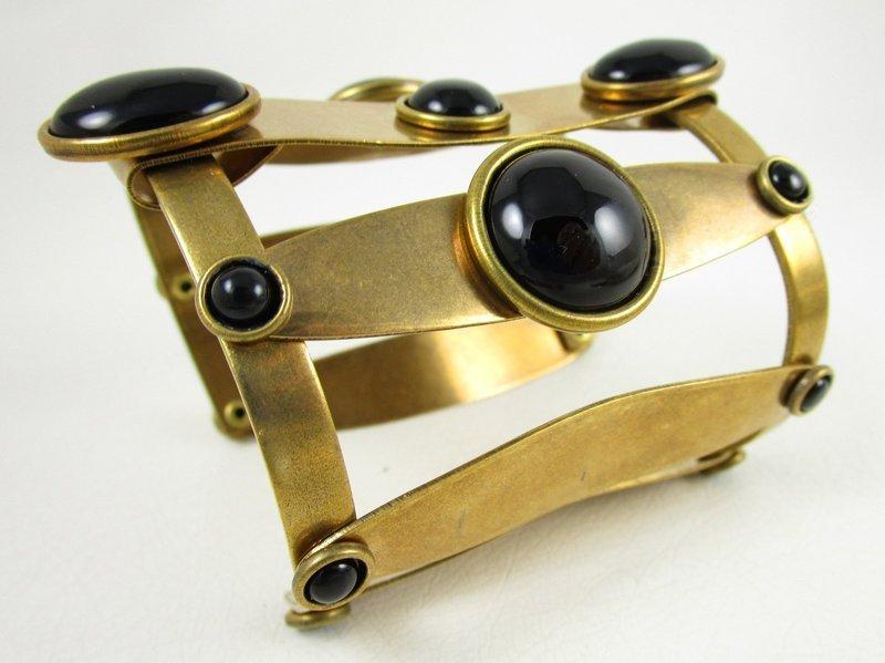 Dramatic Jan Michaels Brass & Glass Art Deco Cuff Bracelet