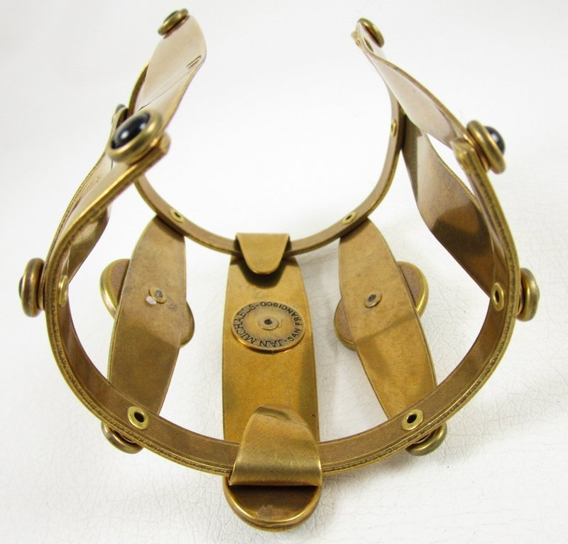 Dramatic Jan Michaels Brass & Glass Art Deco Cuff Bracelet