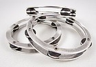 Unusual Jan Michaels Antiqued Silver Tone Tambourine Bracelet