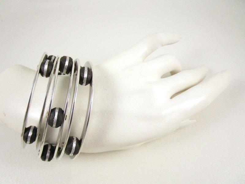 Unusual Jan Michaels Antiqued Silver Tone Tambourine Bracelet