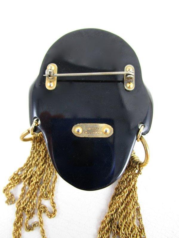 Rare Joseff of Hollywood Headhunter Tenite Brass Head Pin