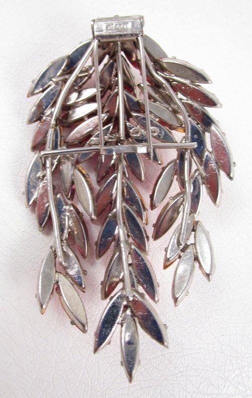 Rare Roger Jean Pierre Dimensional Pink Rhinestone Pin/Clip