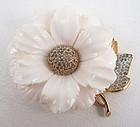 Rare Nettie Rosenstein Pre Ban Ivory Flower Pin