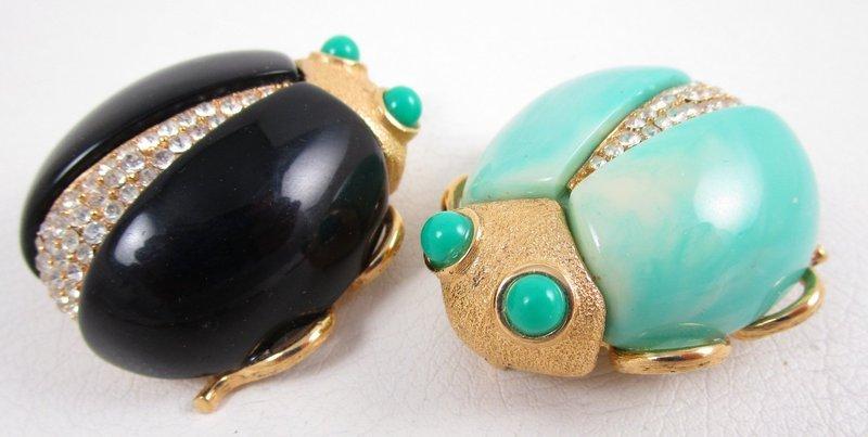 Whimsical Kenneth Jay Lane Resin & Rhinestone Bug Pins