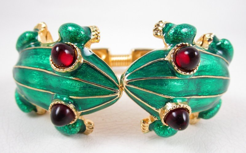 Dramatic Kenneth Jay Lane Enamel Frog Clamper Bracelet