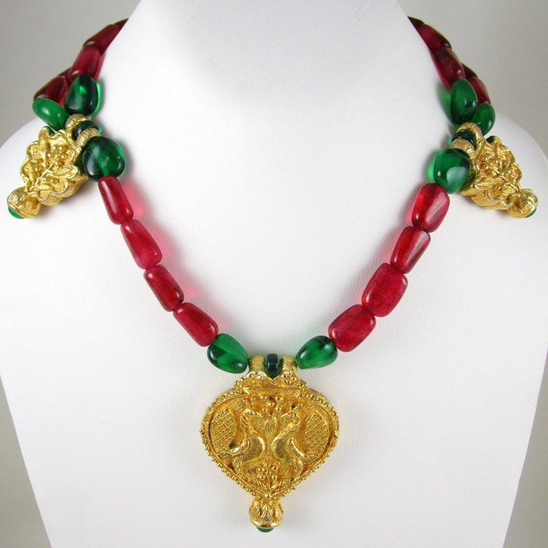 Vintage Kenneth Jay Lane KJL Ruby Emerald Ethnic Necklace