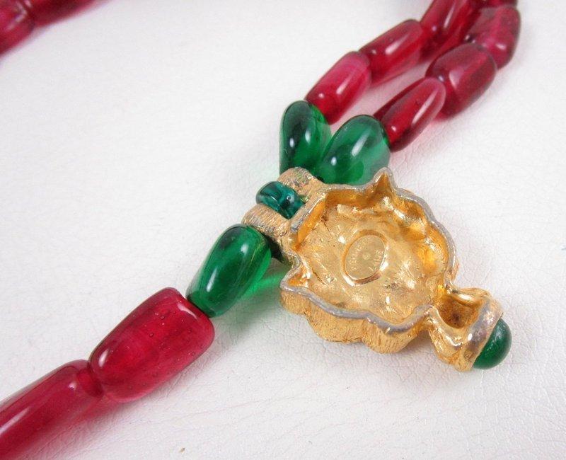 Vintage Kenneth Jay Lane KJL Ruby Emerald Ethnic Necklace