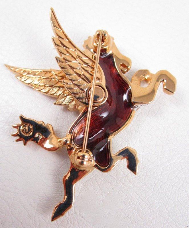 Whimsical Swarovski Pave Crystal Pegasus Pin