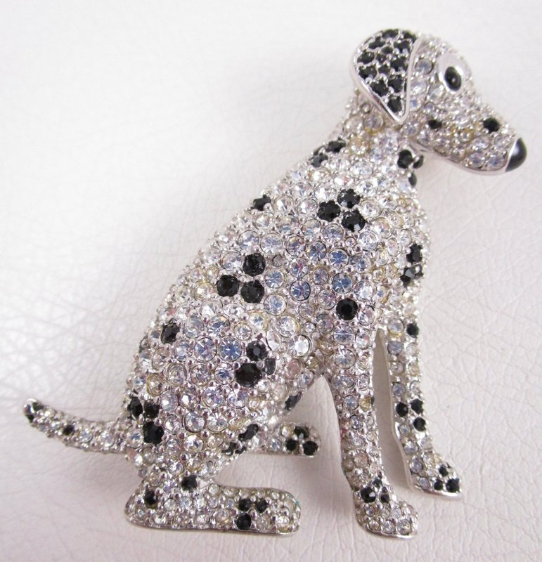 Whimsical Swarovski Crystal and Enamel Dalmatian Dog Pins