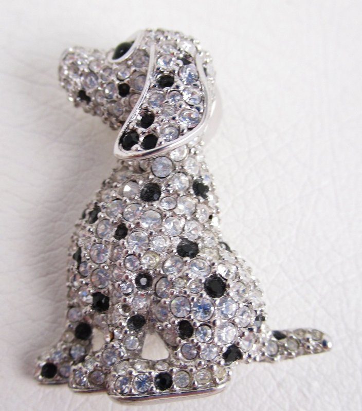 Whimsical Swarovski Crystal and Enamel Dalmatian Dog Pins
