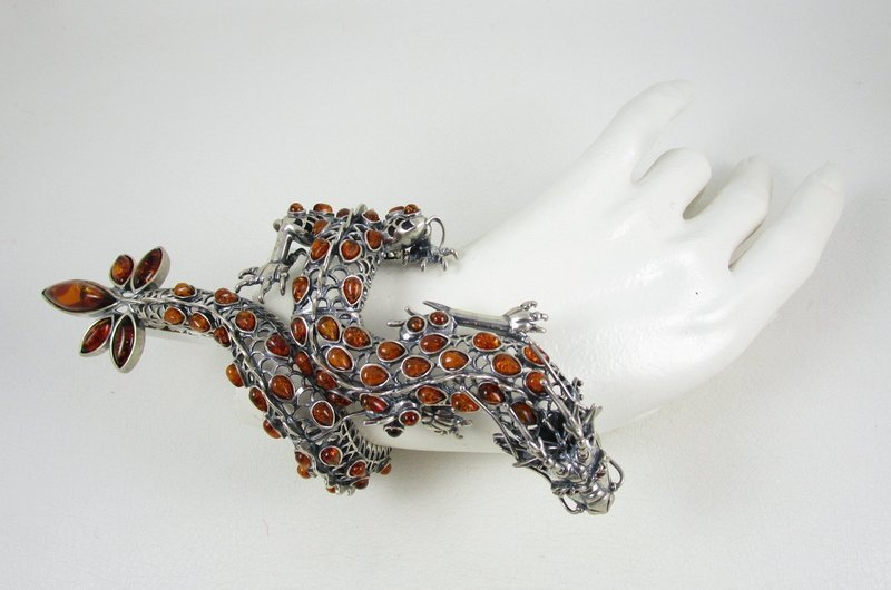 Over the Top Large Sterling Silver & Amber Dragon Bracelet