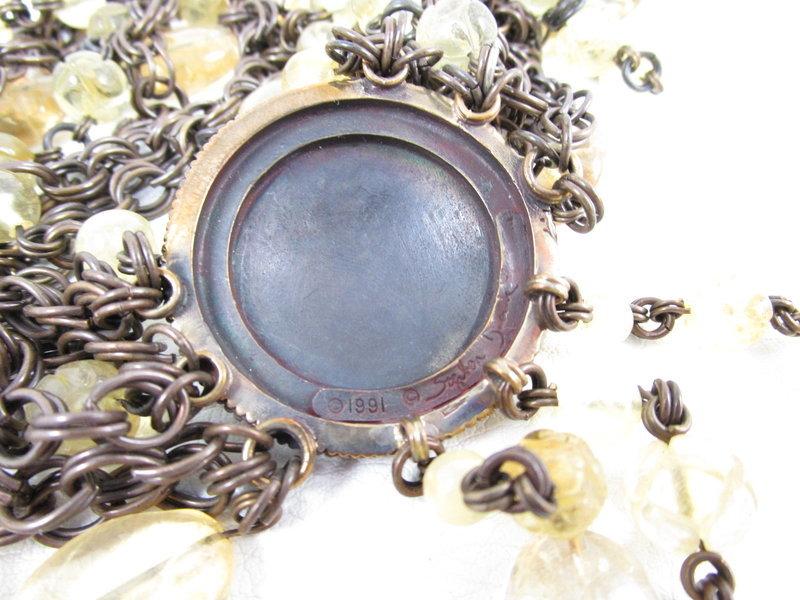"Elegant Stephen Dweck Bronze and Citrine ""Three Graces"" Necklace"
