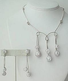 Rare Elsa Freund Modernist Necklace and Earrings
