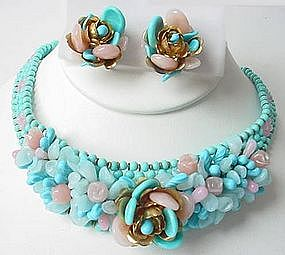 Lovely Louis Rousselet Turquoise Necklace and Earrings
