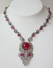 Incredible French Art Deco Sterling Paste Necklace
