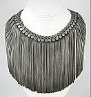 Countess Cis Zoltowska Silver Tone Fringe Necklace