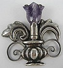 Spratling Design Mexican Silver Amethyst Tulip Pin