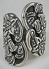 Ornate Repousse Mexican Silver  Flower Clamper Bracelet