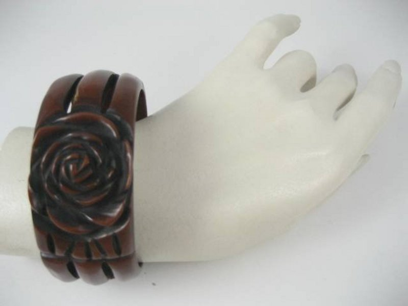 Unusual Carved and Overdyed Bakelite Bracelet