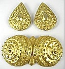 Unusual Selcuk Turkish Sterling Pin and Earrings