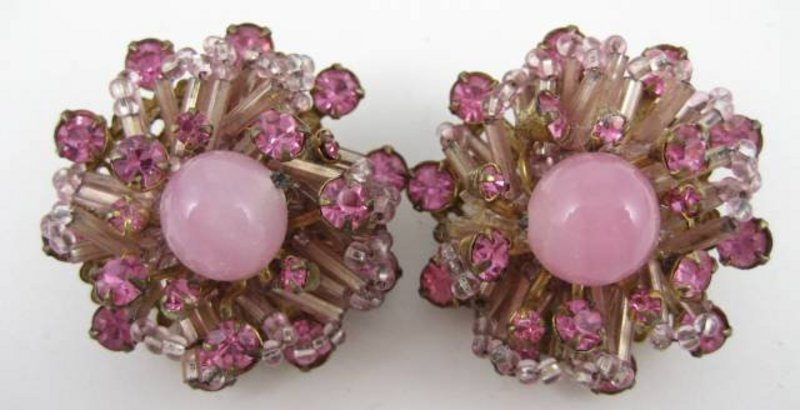 Gorgeous Pink Miriam Haskell Necklace Bracelet Earrings