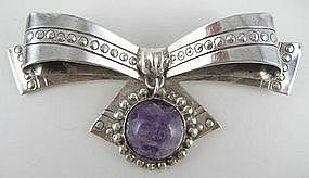 Lovely William Spratling Sterling and Amethyst Bow Pin