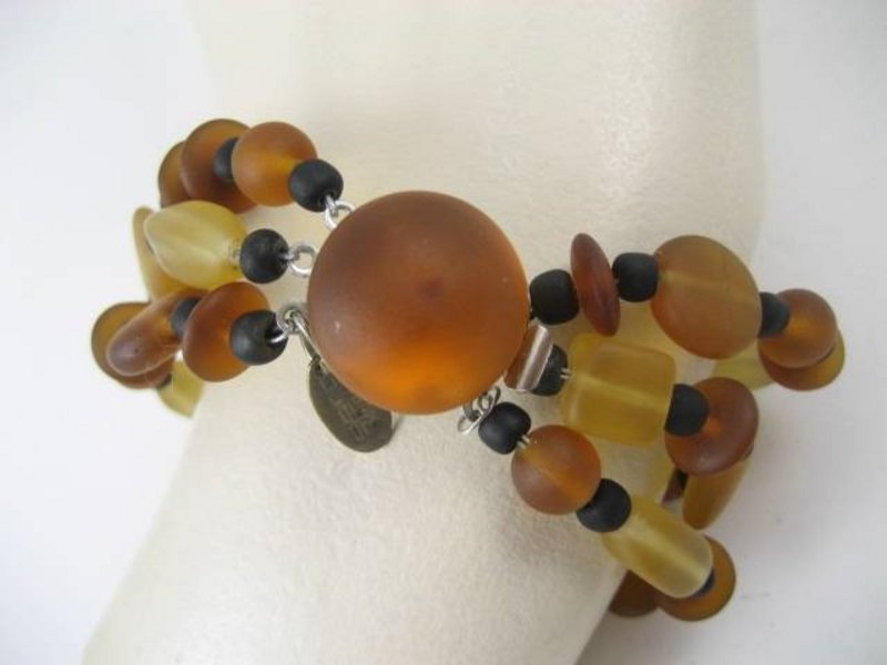 Sent Murano Brown Frosted Glass Bracelet