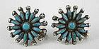 1940's Zuni Sterling Needlepoint Turquoise Earrings