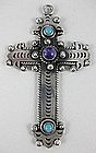 Beautiful Mexican Silver Amethyst Cross Pendant