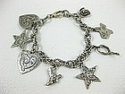 Whimsical Sterling Texas Western Themed Charm Bracelet
