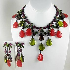 Magnificent Countess Cis Bib Necklace and Earrings