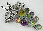 Gorgeous Lawrence Vrba Crystal Grape Cluster Pin