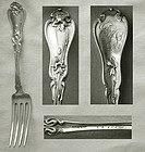 """Early Whiting Art Nouveau """"Violet"""" Sterling Silver Place Fork"""