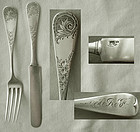 "Whiting ""Antique Engraved M2"" Sterling Silver Youth Knife and Fork"