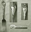 "Heavy, Full Size Durgin ""Marechal Niel"" Sterling Silver Dinner Fork"