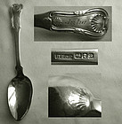 """Benjamin & Samuel Demilt, NYC, """"Kings"""" Coin Silver Place Spoon"""
